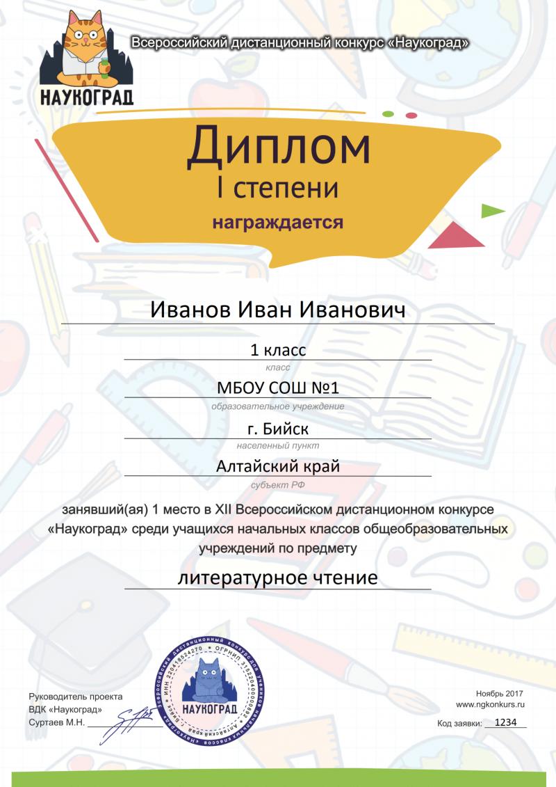 Примеры наградных материалов Диплом 1 степени